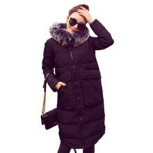2016 новый женщины Зимнее Пальто женщин Ультра Длинный хлопок Куртка Женщин Куртка с Меховым Капюшоном плюс размер S-5xl