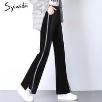 Split Side striped Trousers for women High Waist Elastic plus size bell bottom pants flare pants colorblock japanese street