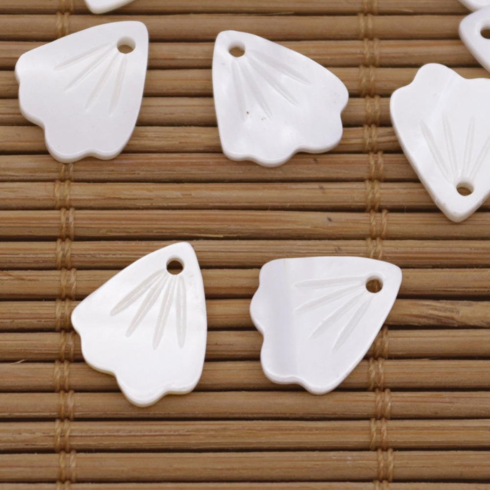 Купить с кэшбэком 10 PCS 12mmX14mm Shell Natural White Mother of Pearl Loose Beads Flower Shape