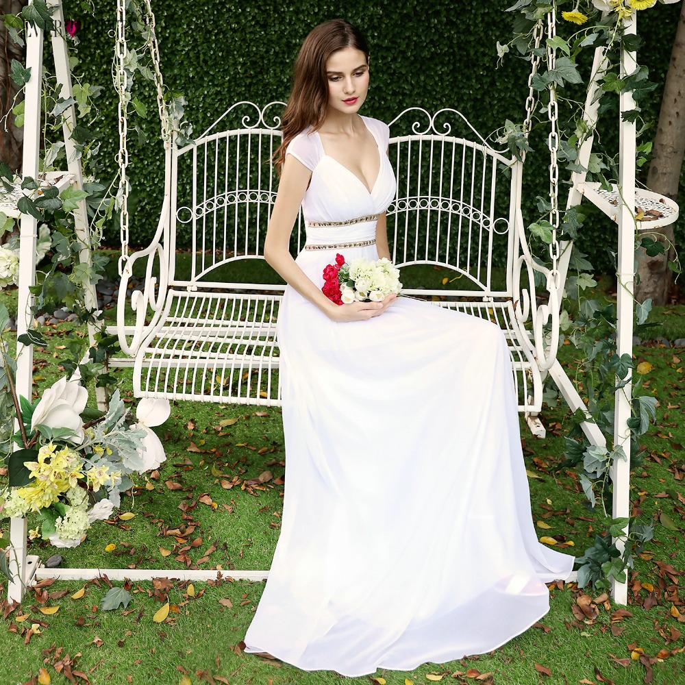 Ever Pretty Beach Wedding Dresses 2019 New A-Line Lace Beading Chiffon Plus Size Wedding Bridal Gowns Under 50 Vestido De Noiva