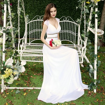 Kiedykolwiek dość suknie ślubne na plaży 2019 nowa linia koronka frezowanie szyfonu Plus rozmiar suknie ślubne dla panny młodej poniżej 50 Vestido De Noiva