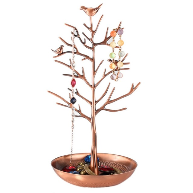 New Elegant vintage Bird Tree Stand Jewelry Earring Necklace Ring Show Rack Holder Display jewelry Headwear holder 4 Colors DM#6