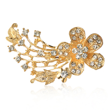 Fashion Clear Sterling Silver Crystal Rhinestone  Gold Plated Flower Brooch Pin up Jewelry Women Brooches for wedding