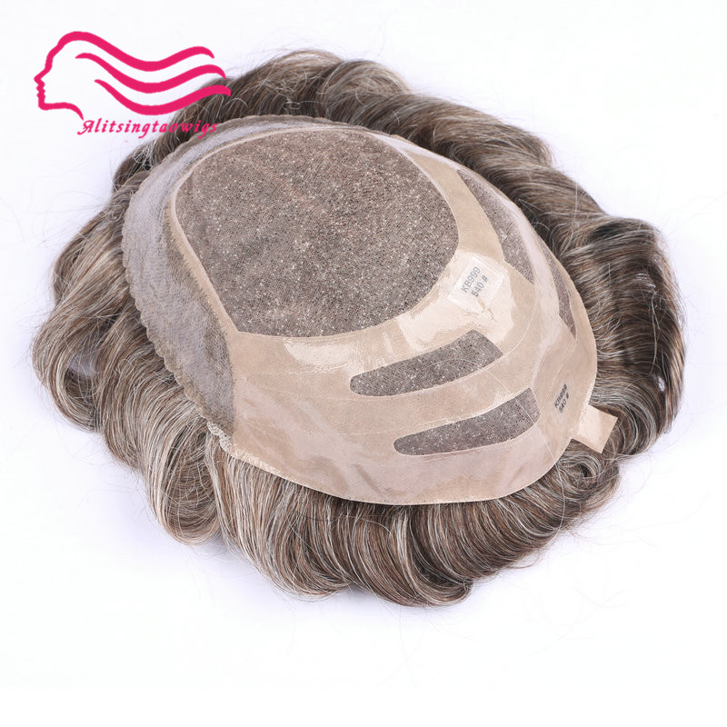 Free shipping durable fine mono with NPU hair toupee hair replacement hair system hair wig