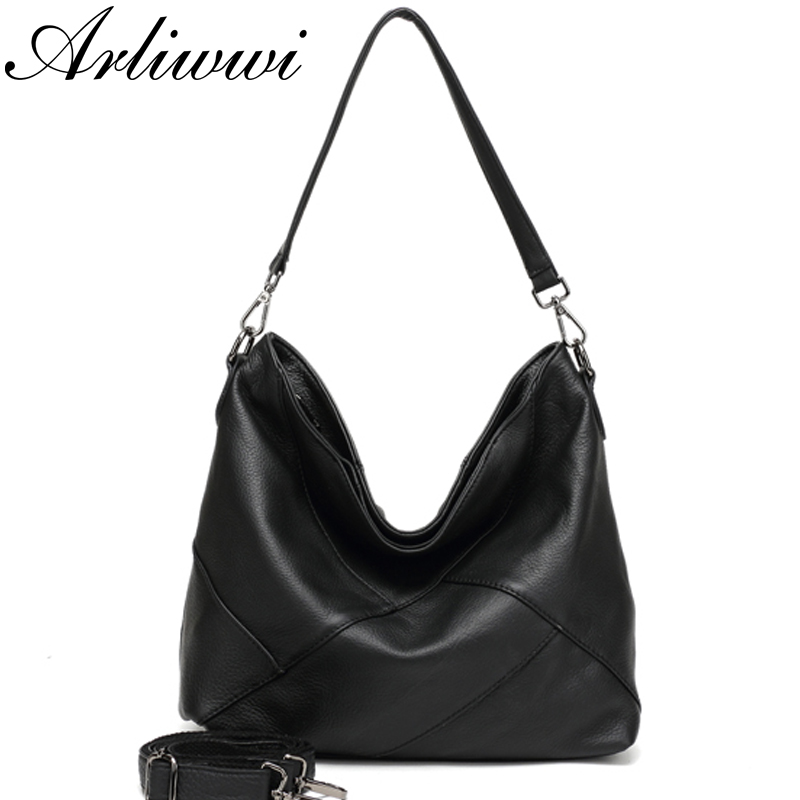 Arliwwi 100% Real Cow Leather Designer Women Shoulder Handbag Extra Soft Cowhide Genuine Leather Bags-in Top-Handle Bags from Luggage & Bags    3