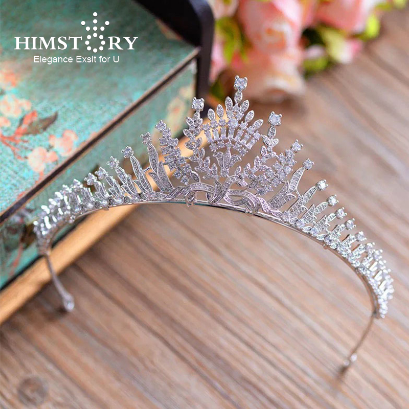 Full Clear AAA Cubic Zirconia Hair Crown Queen Coronet Brides Wedding Prom Princess Hair Tiaras Crown Bridal Hair Jewelry costume ancient chinese princess or empress cap hair accessory bride wedding hair tiaras hair coronet