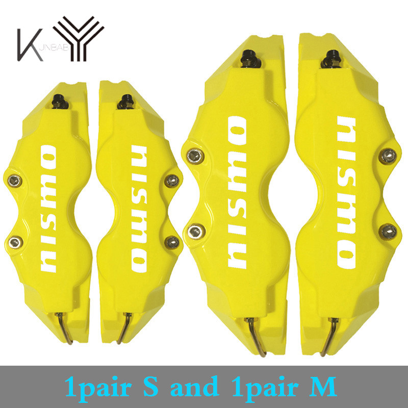 M Front Rear Disc Brake Caliper Cover Yellow Color Plastic Universal Size S