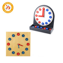 Wooden Toy Montessori Materials Clock Time Educational Learning Toys For Toddlers MA152
