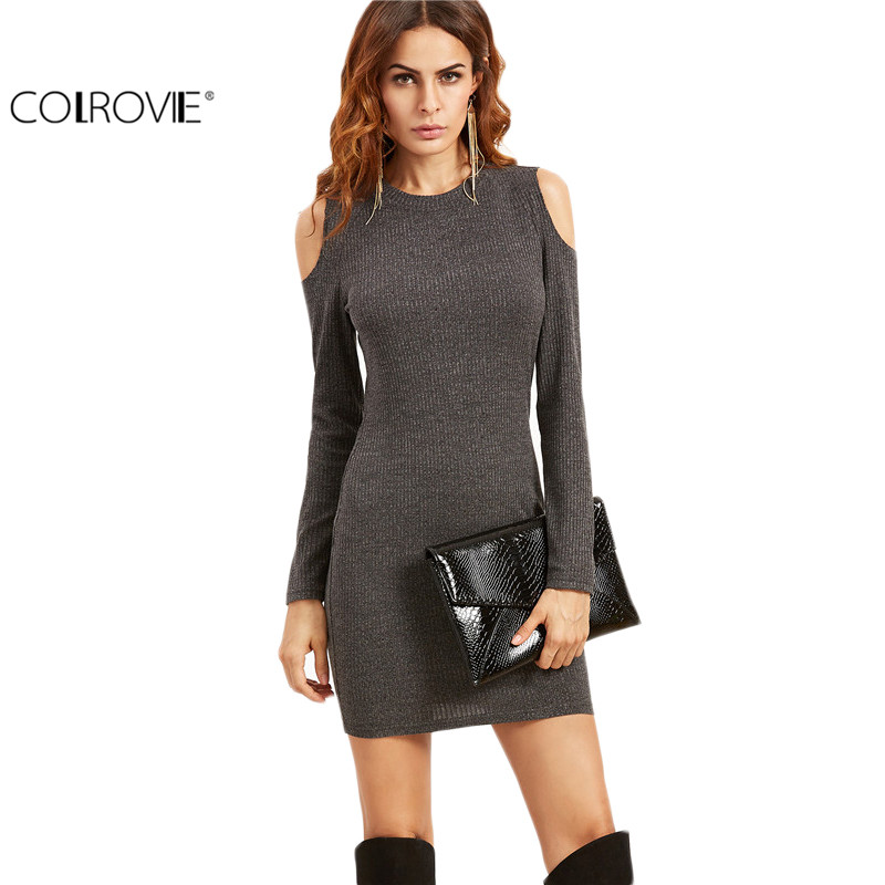 Colrovie grey open shoulder ribbed bodycon dress ladies for Long sleeve open shirt