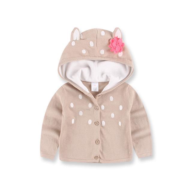 Bebés de chaqueta de Punto Con Orejas de gato Y de La Flor de Los Niños Outwear Niñas de Invierno Suéter