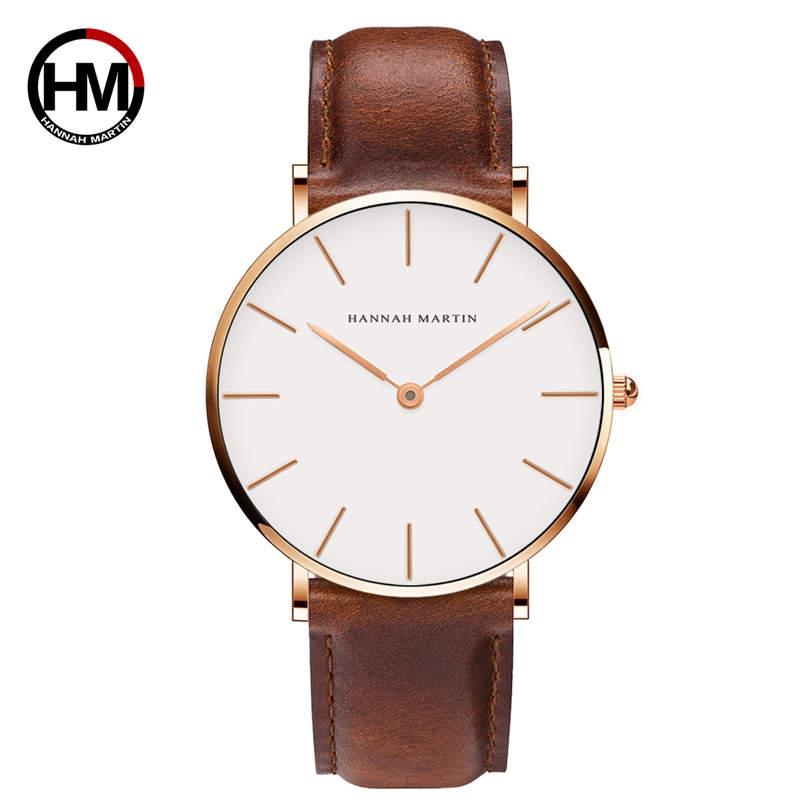 Hannah Martin Waterproof Men Watch Ultra Thin Male Wristwatch Japan Movement Luxury Quartz Clock Scratch Resistant High-end Gift