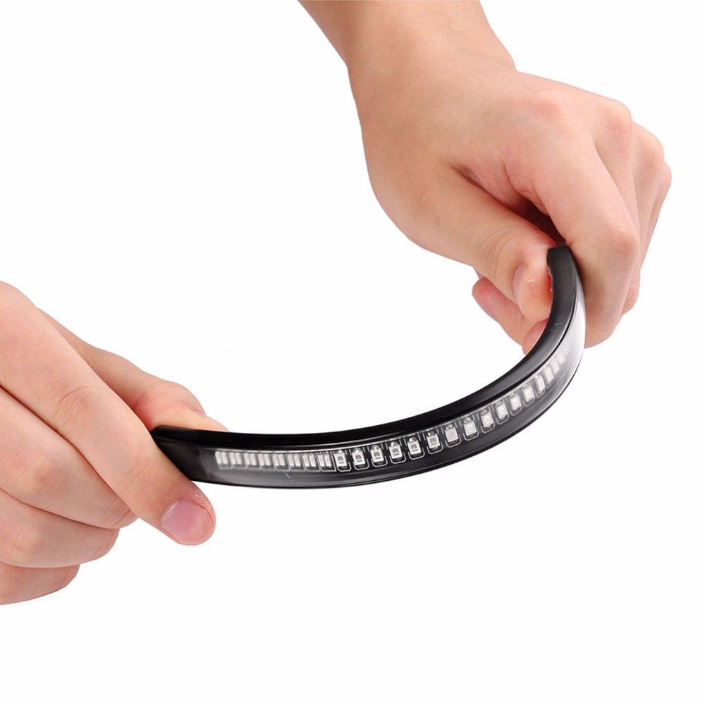 Flexible Moto Motorcycle LED 48SMD License Plate Lamp Tail Brake Stop Turn Signal Integrated 3258 LED Light Strip Assist Lamp