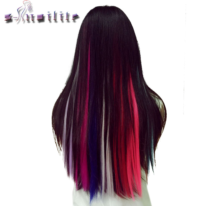 Synthetic Extensions Hair Extensions & Wigs S-noilite 56cm Rainbow Colors One Clip In Hair Extensions Straight Long Synthetic For Women Hair Piece Blue Pink Purple Red