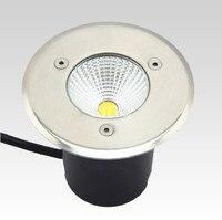 O envio gratuito de AC85-265V ip68 10w quente branco frio enterrado lâmpada inground iluminação ao ar livre cob conduziu a luz da lâmpada subterrânea