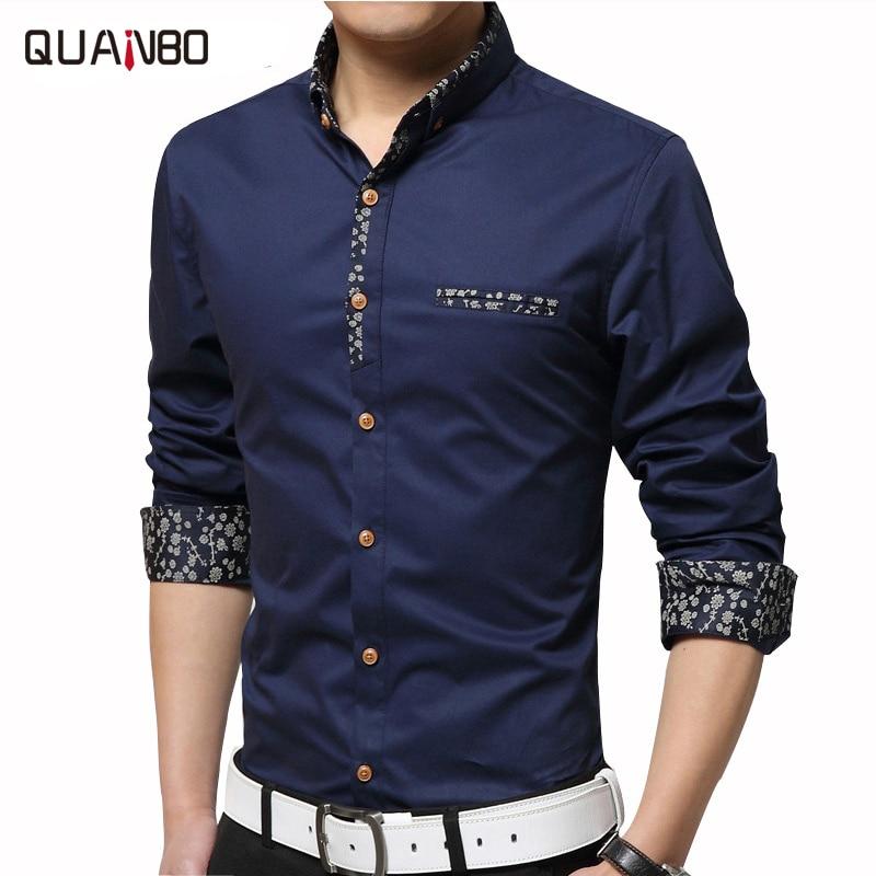 QUANBO Mercerized cotton men's camisas casual Slim