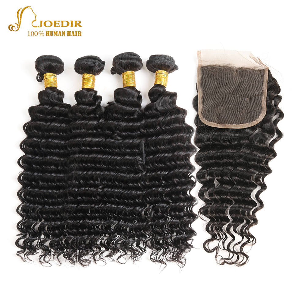 JOEDIR Human Hair Indian Deep Wave hair Weaves Pre-Colored 4 Bundles With Closure 4*4 Swiss Lace Closure Non Remy ...