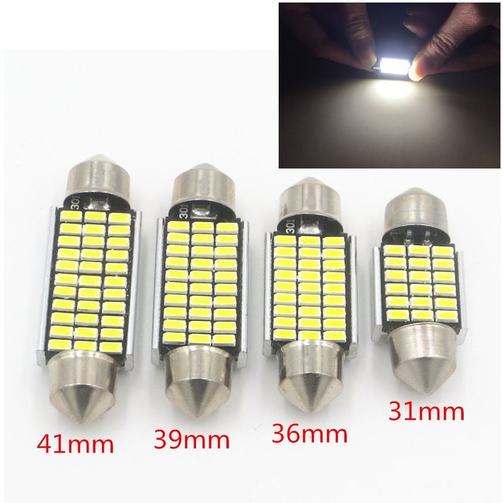 CYAN SOIL BAY 1pcs Car Interior Light 31mm 36mm 39mm 41mm SMD LED Bulbs C10W C5W Festoon Mirror Dome Reading Door Number Lamp 10pcs 36mm festoon 1210 3528 12 smd 12 led c5w car interior dome map light bulbs