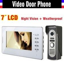 Cheaper New 7 Inch Lcd  Video Intercom Door Phone Doorbell System Video Doorphone Intercom Kit Infrared night vision waterproof camera
