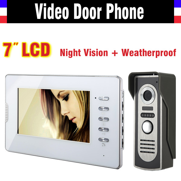 New 7 Inch Lcd  Video Intercom Door Phone Doorbell System Video Doorphone Intercom Kit Infrared night vision waterproof camera jeruan new doorbell intercom doorphone wireless video door phone with memory image station outdoor night vision function