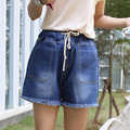 plus size 4xl denim jeans shorts women summer style 2016 bermuda feminina elastic waist denim shorts A0637
