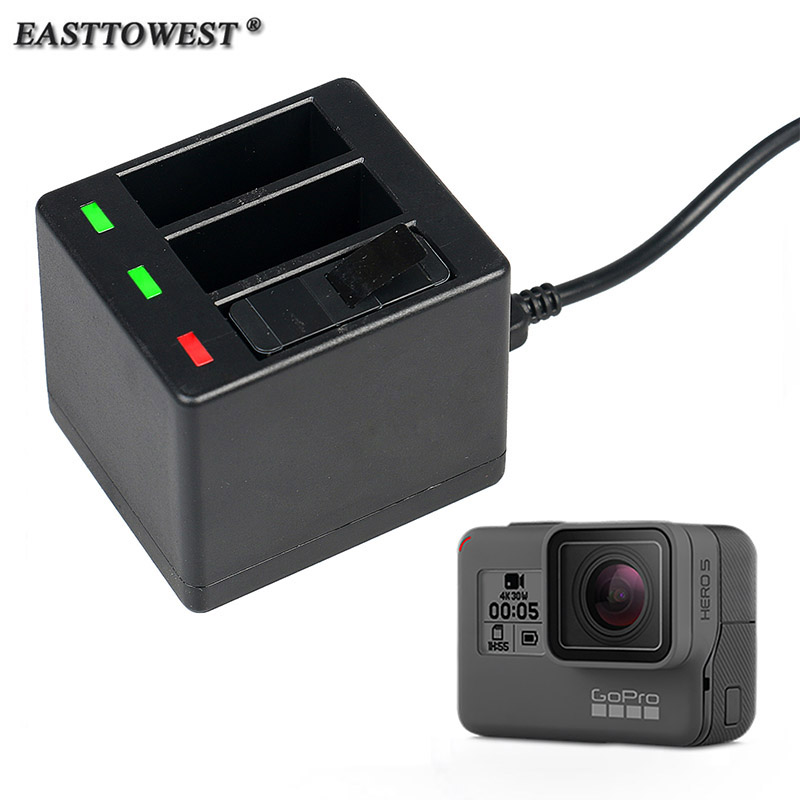 EASTTOWEST Go pro Hero 5 Accessories Triple Slot Charger for Go Pro Hero 5 Black Edition pro 5