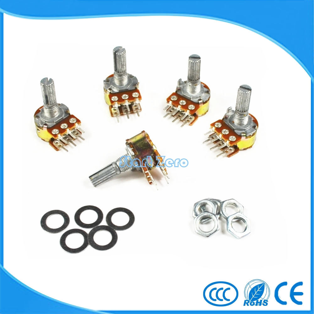 5PCS WH148 1K 2K 5K 10K 20K 50K 100K 250K 500K ohm Linear Dual Rotary Potentiometer 15mm Shaft With Nuts And Washers 6Pin(China)