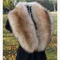 Autumn And Winter Women's Faux Fur Overcoat Collar Cap Fox Fur Big Collar Raccoon Fur Muffler Scarf Shawl Wrap Stole Cape 82cm