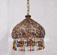 S Size RED COPPER SHELL COLORFUL K9 Crystal Ceiling Pendant Lamp Lighting Chandelier Bedroom Dining Bohemia