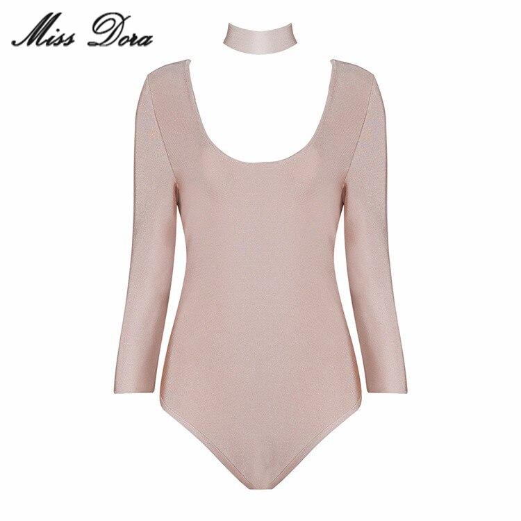 2016 New Autumn Sexy Black White Red Beige Brown Halter Long Sleeves Slim Bodysuit Bikini Beachwear Bnadage Jumpsuit Wholesale