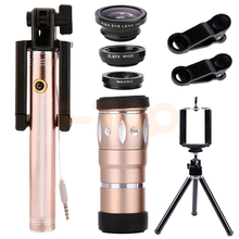 Big discount 2017 New 10X Telephoto Zoom Lens Telescope Microscope Selfie Stick Monopod Wide Angle Macro Fisheye Lentes Tripod For Smartphone