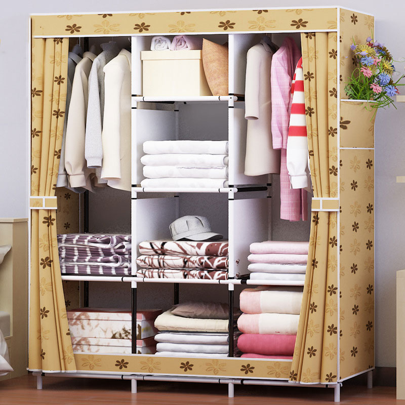 Waterproof Oxford Cloth Multi-purpose Clothing Storage Cabinet Wardrobe DIY Assembly Reinforced Folding Storage Closet Furniture