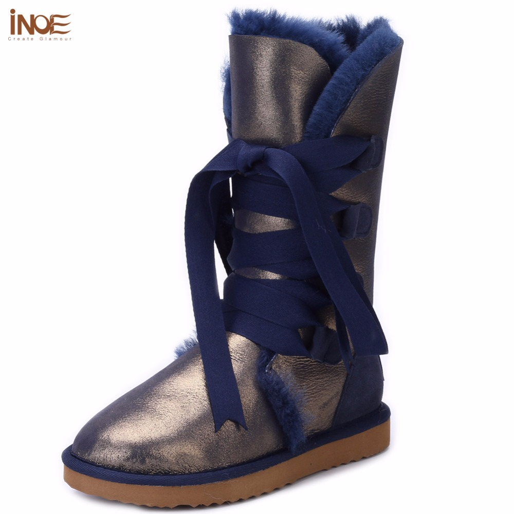 INOE fashion lace up snow boots for women bootlace real sheepskin leather natural wool fur lined girls winter shoes waterproof