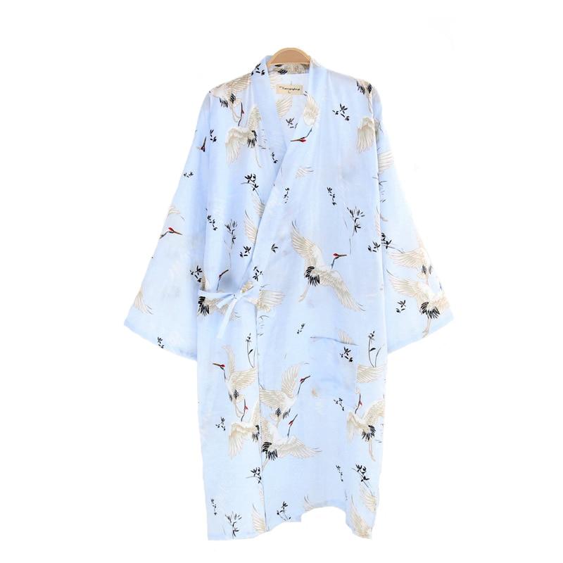 Print Loose Kimono Bath Robe Summer Ladies Home Basic Dressing Gown Cotton Long Nightdress Casual Sleepwear Negligee