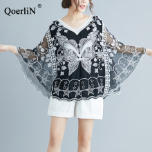 QoerliN Summer Beach Blouse Women Suncoat Fashion Female Black Lace Sexy Hollow Out Mesh Shirts Girls White Loose