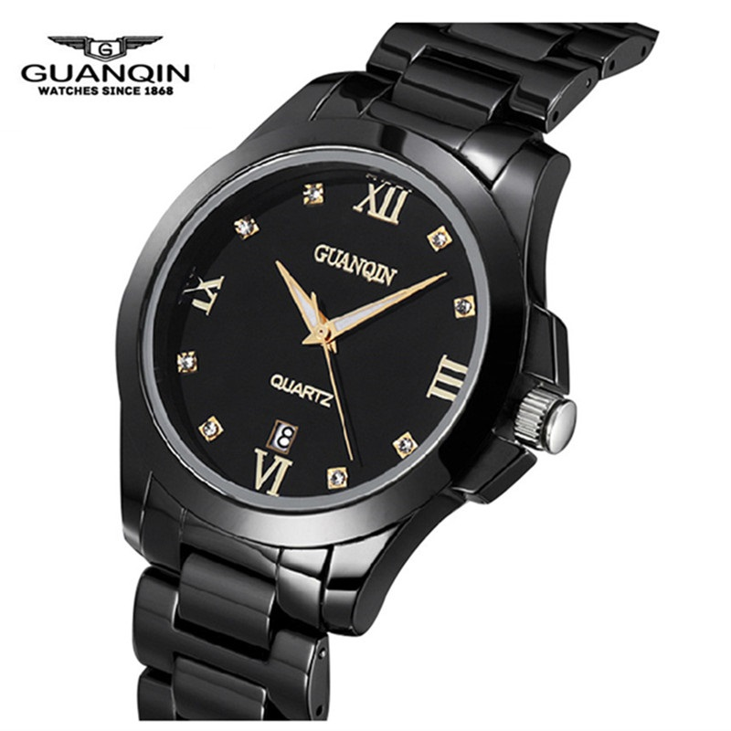 Tungsten Steel Men Watch Luxury Brand GUANQIN Men Quartz Watch Waterproof Calendar Clock Wristwatches for Men Relogio Masculino