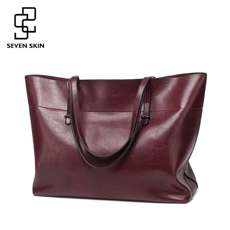 SEVEN SKIN Brand Women Shoulder Bags Fashion Designer Woman Bag High Quality PU Leather Handbag Female Solid Top-handle Tote Bag
