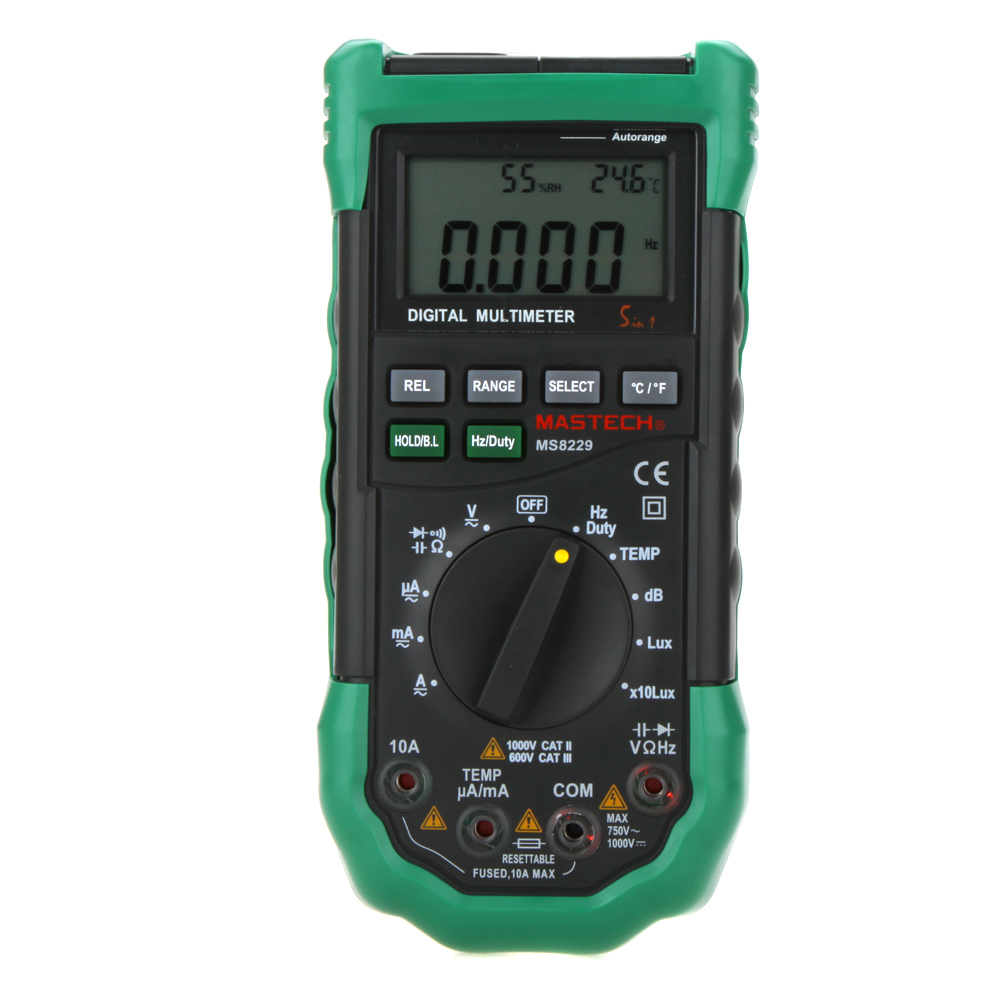 MASTECH MS8229 Digital Multimeter 5 in 1 Noise Illumination Temperature Humidity Tester Diagnostic-tool Auto Range LCD Backlight digital indoor air quality carbon dioxide meter temperature rh humidity twa stel display 99 points made in taiwan co2 monitor