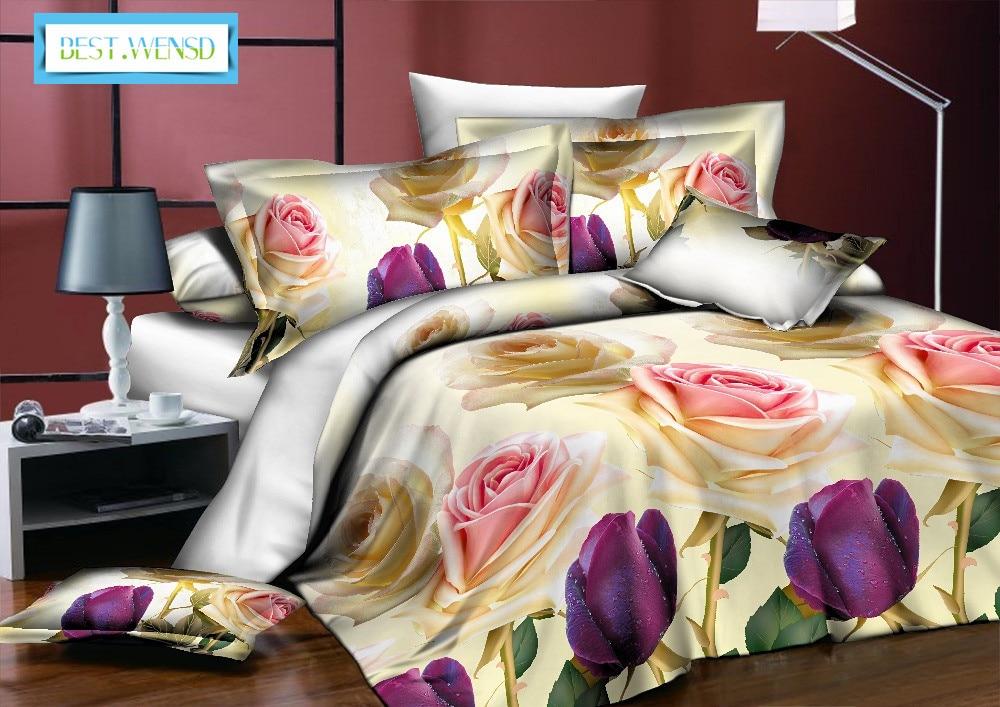 BEST. WENSD ensemble de literie classique roi reine pleine taille gris bleu fleur Rose linge de lit housse de couette ensemble AB housse de couette côté 2018 lit