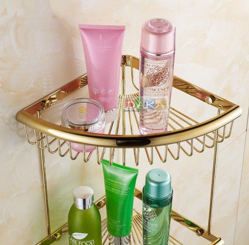 Di lusso oro finitura accessori bagno doccia shampoo e cosmetici scaffale basket holder/ottone materiale doppio disegno angolo ripiani - 3