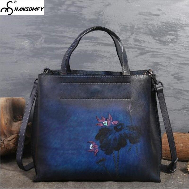2018 nouveau Original femmes sacs à bandoulière en cuir sac à main femme grande capacité à la main sac rétro première couche en cuir messenger sac