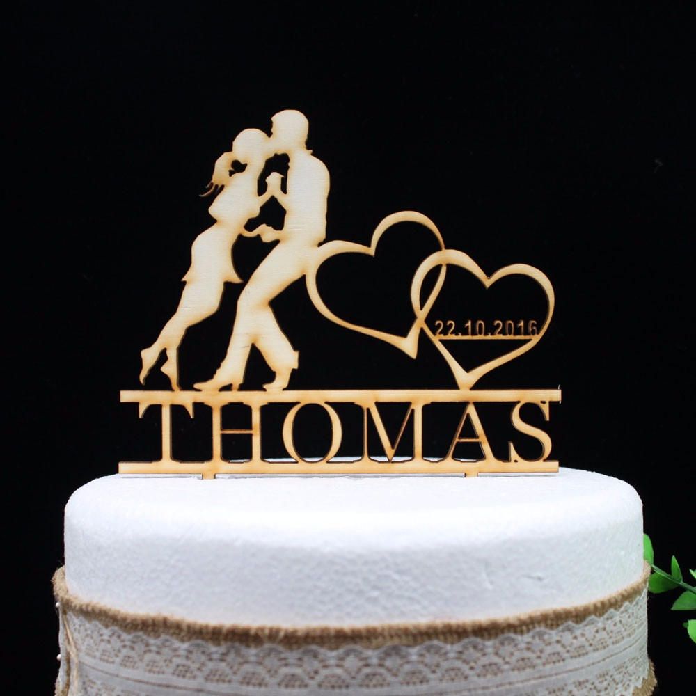 Wooden Bride And Groom Cake Topper