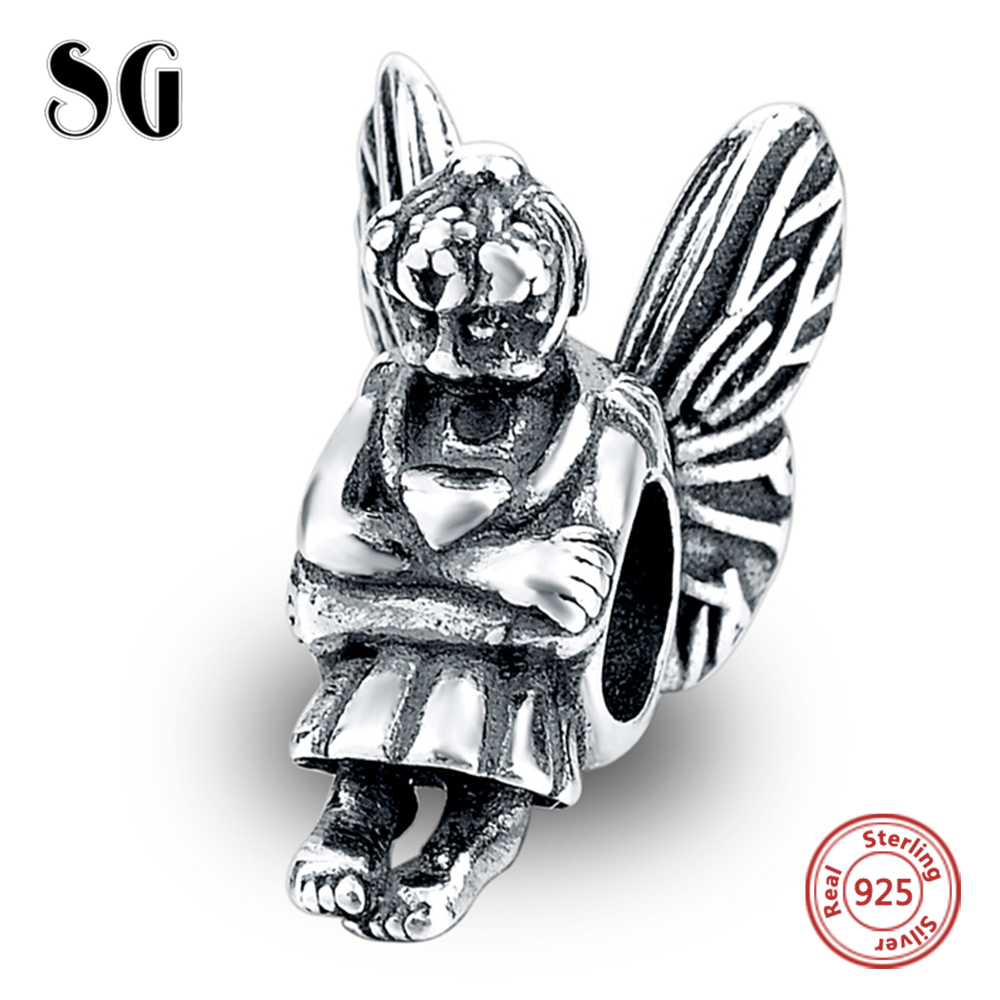 Angel Beads Fit Pandora Charms Bracelet Jewelry DIY Making for Women 100 % 925 Sterling Silver Fairy Butterfly Famous Brand Bead