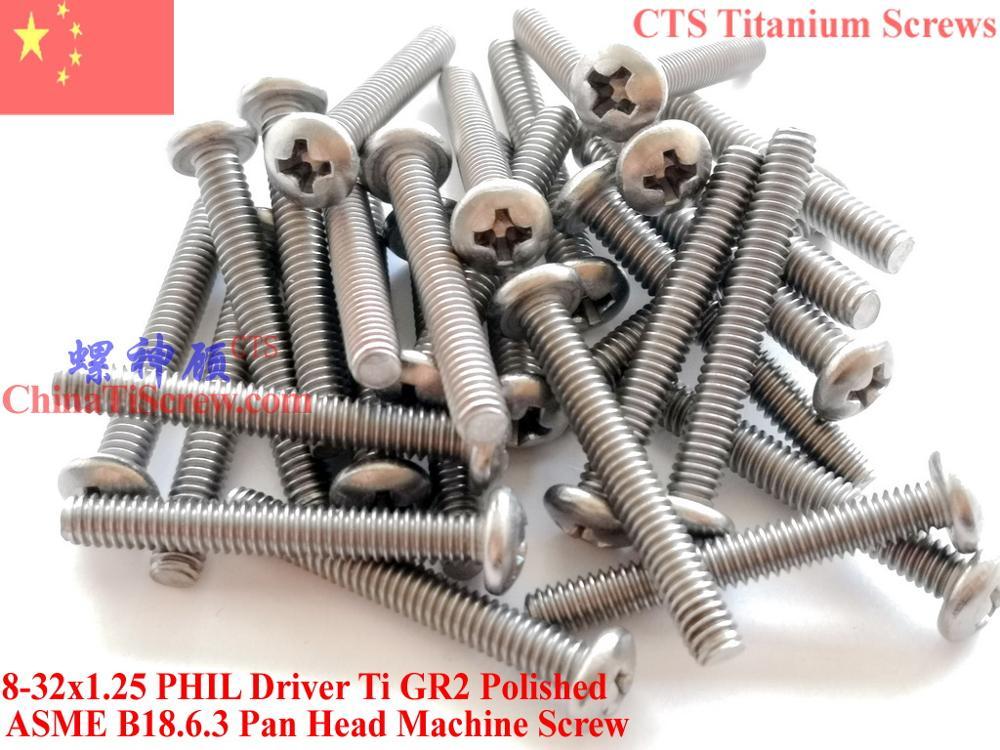 Титановые винты 8-32x1.25 Pan Head 2# Phillips Driver Ti GR2 полированный 50 шт
