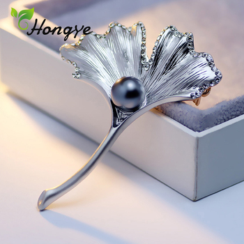 Matted Gold Ginkgo Leaf Trendy Brooch Plant Pin for Women Natural Freshwater Pearl Fashion Jewelry Gift Luxury Zircon Coat Pins jiuduo exquisite pure natural freshwater pearl for women brooch for dance occasions