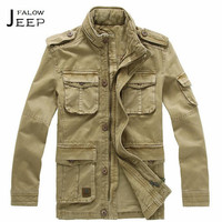 Flaow AFS JEEP Autumn Man S 100 Cotton Multi Pockets Long Jacket Real Clothe Bolsillos Military