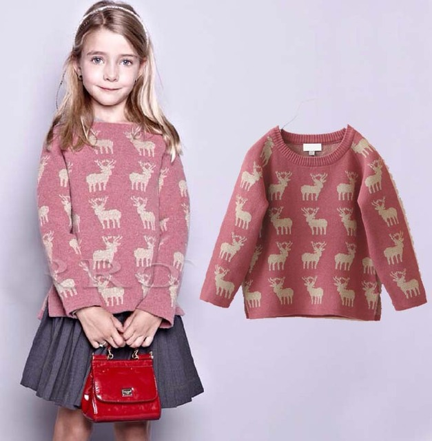 2014 New Autumn brand girl sweater French designer fashion deer kids sweater baby girls sweater children clothing 083C