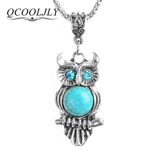QCOOLJLY Fashion Stone Necklace Owl Pendant & Necklace Chain Vintage Jewelry for