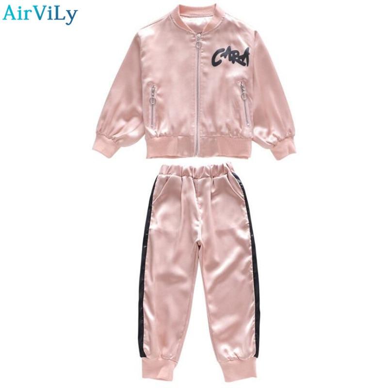 все цены на Kids Clothes Girls Track Suit School Girls Autumn Cotton Clothing Set Children Bat Sleeve Embroidery Sweatshirt Pants Suit