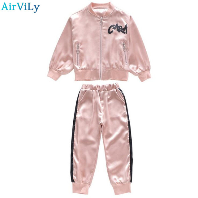 d9678841a664 Kids Clothes Girls Track Suit School Girls Autumn Cotton Clothing Set  Children Bat Sleeve Embroidery Sweatshirt Pants Suit