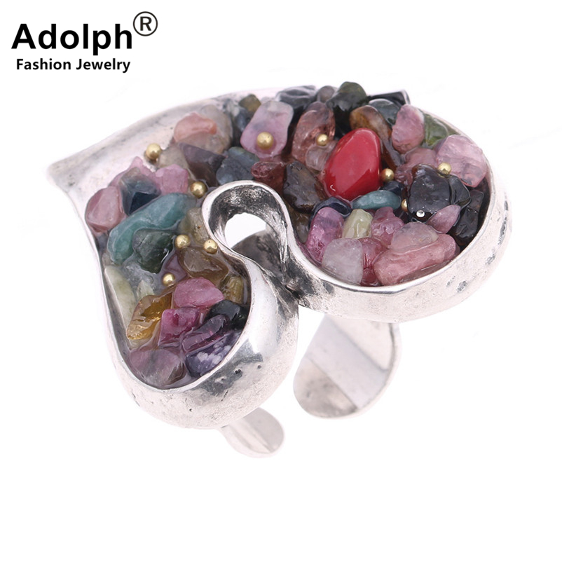 ADOLPH Star Jewelry Vintage Natural Stone Heart Ring Woman Rhinestone Adjustable Ring Fash